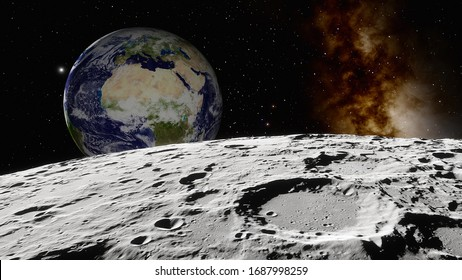 view from the moon to the Earth 3d render