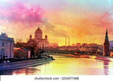View to Moscow river and Church of the Savior color collage