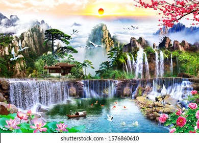 View of mountain with waterfall and six fishes at sunset time for wall decoration. 3D rendering