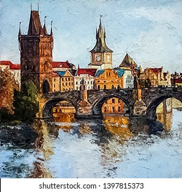 View on the Charles Bridge and old medieval buildings at sunset, Prague, Czech Republic. Oil painting on canvas.