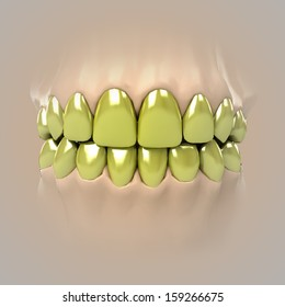 view on clean pure white golden or unhealthy teeth illustration