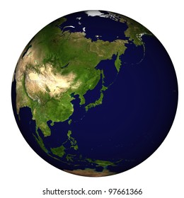 View on Earth centered on Japan
