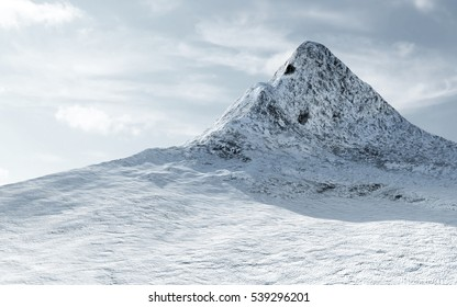 View on the Snow Covered Mountain Peak with Clouds. 3D Rendering