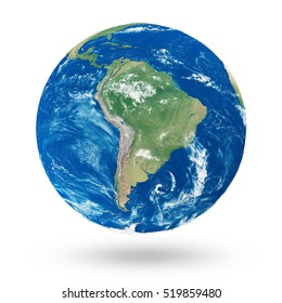 View on South America. Earth Planet Isolated on white background. Elements of this image furnished by NASA. 3D Rendering