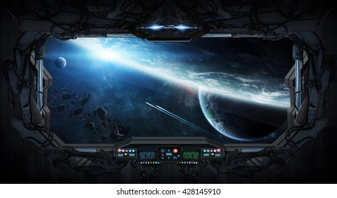 View of outer space from the window of a space station 'elements of this image furnished by NASA' '3D rendering'