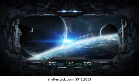 View of outer space from the window of a space station 3D rendering elements of this image furnished by NASA