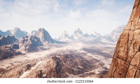 View over a beautiful desert redrock canyon. 3D rendering.