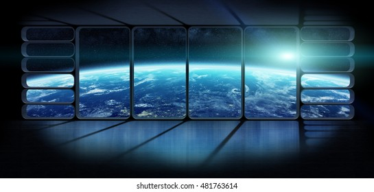 View of planet earth from an observatory starship station in space 3D rendering elements of this image furnished by NASA