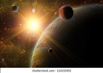 A view of planet, moons and the deep space. Abstract illustration of distant regions.
