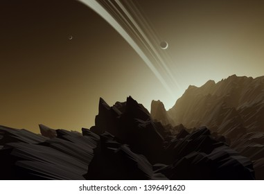 view from planet with rings toward sky at sunset, ringed planet landscape, science fiction illustration (no NASA images used)