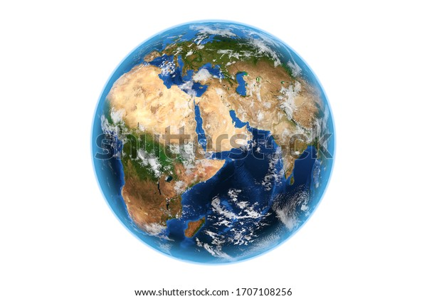 View of Planete Earth World Globe from Space on a white background. Elements of this image furnished by NASA. 3d Rendering