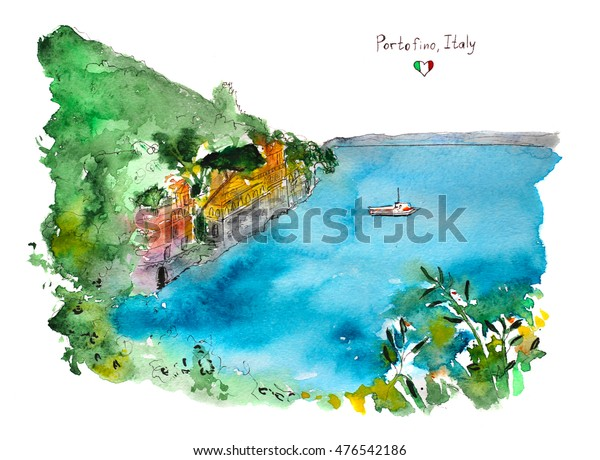 View Portofino City Italy Hand Drawn Stock Illustration