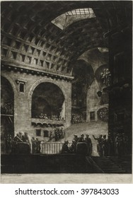 A View of the Prison of the Composition of Mr. Blondel done at Rome, by Jacques Francois Blondel, 1765, French print, mezzotint. Inside view of an antique building, with vaulted coffered ceiling used