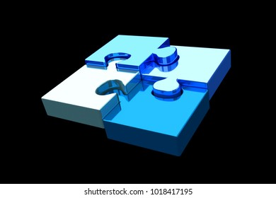 View of Puzzle pieces on a color background