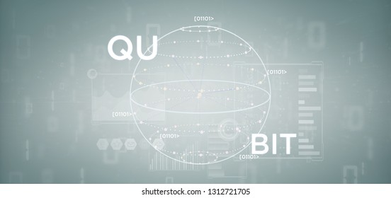 View of Quantum computing concept with qubit icon 3d rendering
