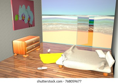 View of a room near the beach, 3d rendering