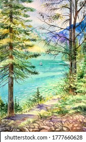 View of the sea through the forest. Watercolor pine trees forest. Summer background. Design element.