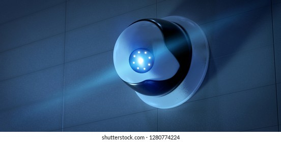 View of a Security CCTV camera system - 3d rendering