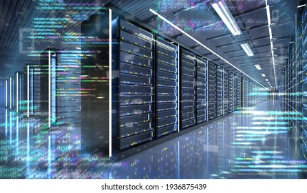 View of a Server room data center - 3d rendering