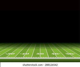 A view from the sideline of an American football field with room for copy.
