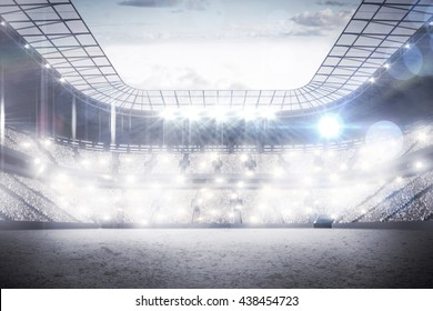 View of a sports arena with spotlights