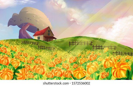 View of spring village with green meadow on hills with pink sky and wild Sunflower, Chrysanthemum flowers fields background illustration