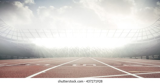 View of a stadium with tribune and running track