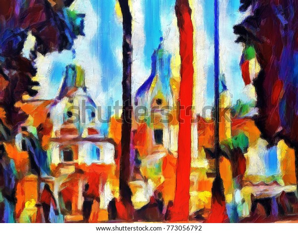 View Streets Rome People Walking Large Stock Illustration