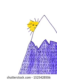View of the sun sinking behind the mountain, data design, design paper. White background. Watercolor. Hand-drawn illustration.