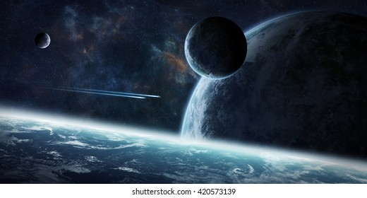 View of a sunrise on a distant planet system in space 'elements of this image furnished by NASA' '3D rendering'