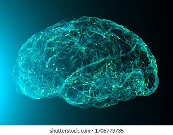 View of the synapses. Brain connections. Neurons and synapses. Communication and cerebral stimulus. Neural network circuit, degenerative diseases, Parkinson. 3d render