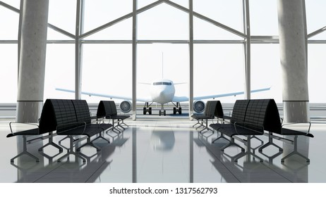 View from Terminal on the Passenger Airplane. 3D Rendering