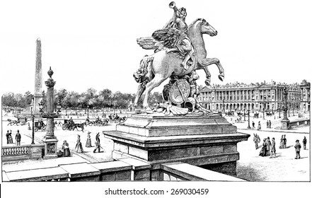 View from the terrace of the west on the Place de la Concorde, vintage engraved illustration. Paris - August 1890.