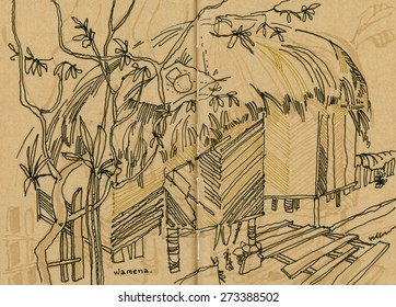 View of a thatched gate and fence in Wamena, Jayawijaya, Papua province, Indonesia. Hand drawn illustration on natural color textured paper. Quick sketch drawing.
