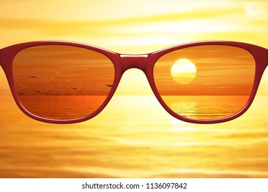 View through sunglasses sharp with glasses unsharp without glasses 3d illustration