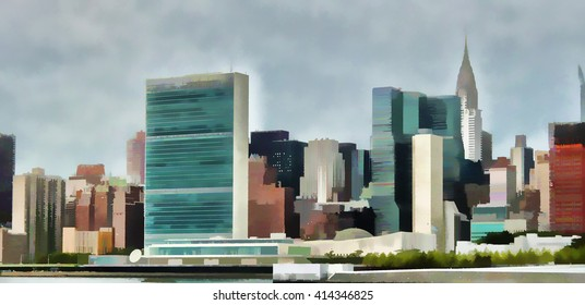 View of UN building. New York City