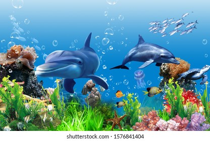 View under the sea with many sea fish for wall decoration. 3D rendering