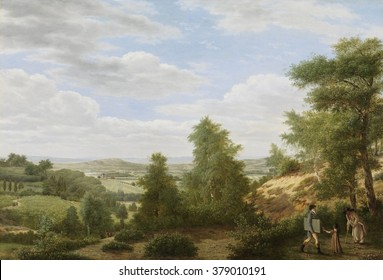 View of the Valley of Montmorency near Saint-Leu-la-Foret, France, by Pieter Rudolph Kleijn, 1808, Dutch painting, oil on canvas. Highly detailed and realistic Romantic landscape of site north of Pari