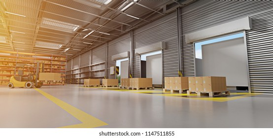 View of a Warehouse goods stock background 3d rendering