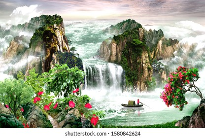 View of waterfall with boat for wall decoration. 3D rendering