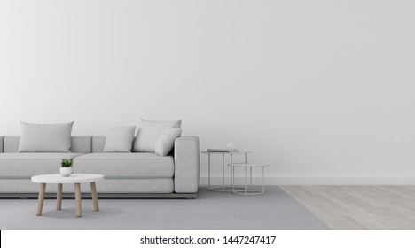 View of white living room in minimal style with sofa and small side table on laminate floor.Perspective of interior design. 3d rendering.