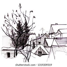 view from the window to the holiday village in winter