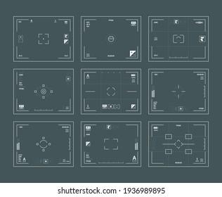 Viewfinder interface. Digital filing dslr cameras frames lens focused web template set