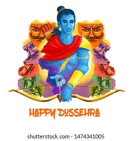 Vijayadashami Dasahara, Dusshera, Dasara, Dussehra Dashain major Hindu festival celebrated at end of Navratri. Maha Durga, Chandika Aparajita digital art illustration, t-shirt print, man with arrow