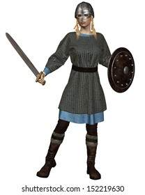 Viking or Anglo-Saxon Shield Maiden with chain mail armour, sword, shield and helmet, 3d digitally rendered illustration