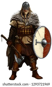 Viking with ax and shield on white. Viking warrior male with a wolf skin on his shoulder. Viking helmet.