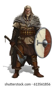 Viking with ax and shield on white. Realistic isolated illustration.