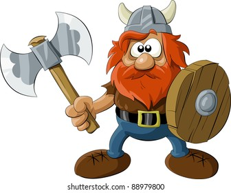 Viking with an ax and a shield, raster