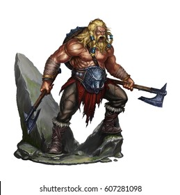 viking berserker on white on stone