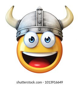 Viking emoji isolated on white background, emoticon wearing Viking helmet 3d rendering